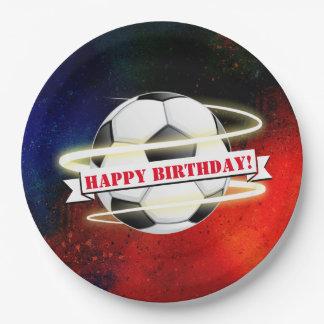 Fête d'anniversaire cosmique de ballon de football assiettes en papier