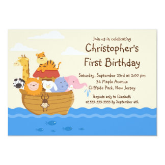 Fête d'anniversaire d'animaux de bébé de l'arche carton d'invitation  12,7 cm x 17,78 cm