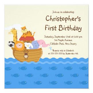 Fête d'anniversaire d'animaux de bébé de l'arche carton d'invitation  13,33 cm