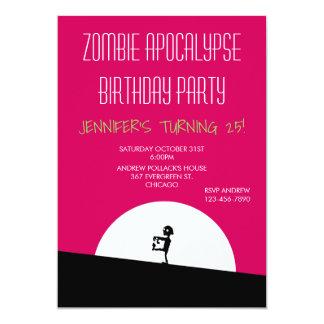 Fête d'anniversaire d'apocalypse de zombi carton d'invitation  12,7 cm x 17,78 cm