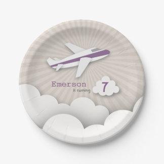 Fête d'anniversaire d'avion - pourpre assiettes en papier