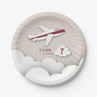 Fête d'anniversaire d'avion - rouge assiettes en papier