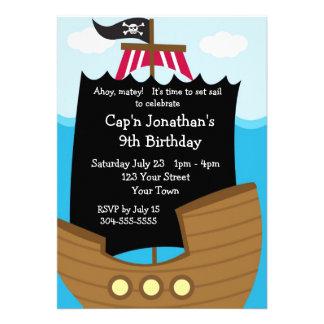 Fête d'anniversaire de bateau de pirate d'enfants invitations