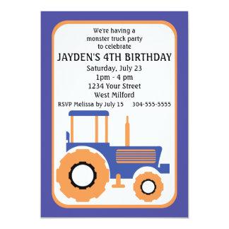 Fête d'anniversaire de camion et de tracteur de carton d'invitation  12,7 cm x 17,78 cm
