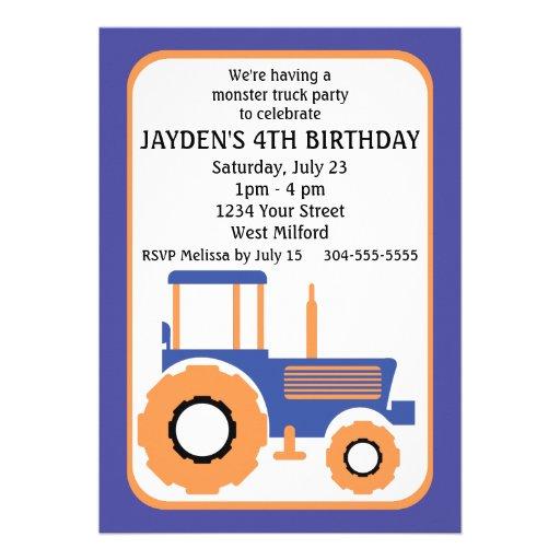 Fête d'anniversaire de camion et de tracteur de mo faire-part