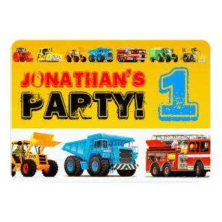 Fête d'anniversaire de camions de la construction carton d'invitation  12,7 cm x 17,78 cm