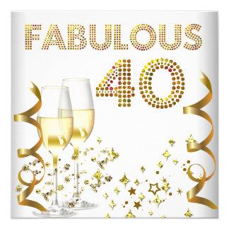 Fête d'anniversaire de Champagne de l'or 40 Carton D'invitation 13,33 Cm