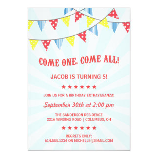 Fête d'anniversaire de cirque d'amusement carton d'invitation  12,7 cm x 17,78 cm