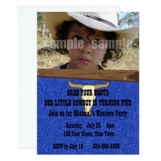 Fête d'anniversaire de cowboy d'enfant carton d'invitation  12,7 cm x 17,78 cm
