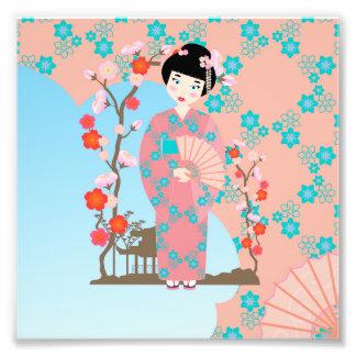 Fête d'anniversaire de fille de geisha impressions photo