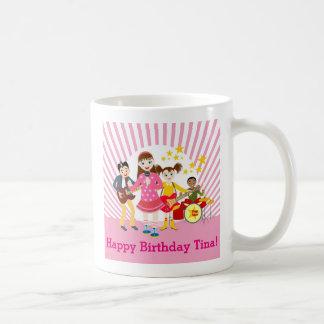 Fête d'anniversaire de fille de vedette de pop mug blanc