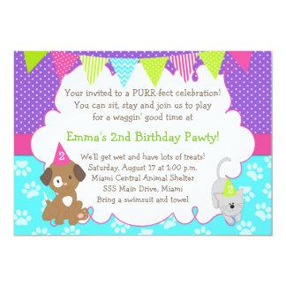 Fête d'anniversaire de fille d'invitation de chiot carton d'invitation  12,7 cm x 17,78 cm