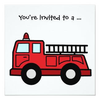 Fête d'anniversaire de garçon de Firetruck de Carton D'invitation 13,33 Cm