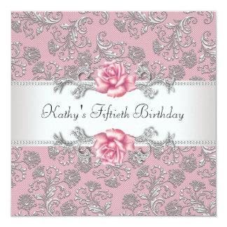Fête d'anniversaire de la femme de damassé de rose carton d'invitation  13,33 cm
