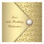 Fête d'anniversaire de la femme de perle d'or cinq invitations
