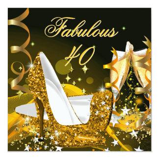 Fête d'anniversaire de l'or des 40 femmes carton d'invitation  13,33 cm