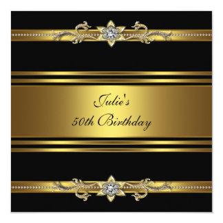 Fête d'anniversaire de l'or noir de la femme carton d'invitation  13,33 cm