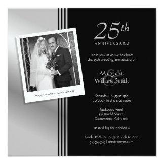 Fête d'anniversaire de mariage d'argent de photo carton d'invitation  13,33 cm