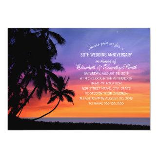 Fête d'anniversaire de mariage de plage de palmier carton d'invitation  12,7 cm x 17,78 cm