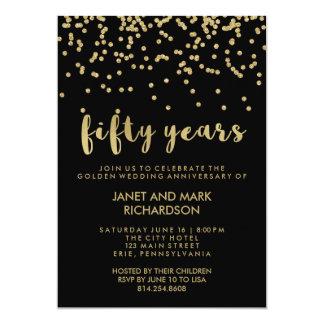 Fête d'anniversaire de mariage d'or de confettis carton d'invitation  12,7 cm x 17,78 cm