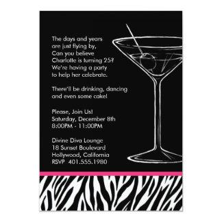 fête d'anniversaire de martini d'impression de carton d'invitation  12,7 cm x 17,78 cm