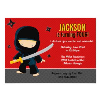 Fête d'anniversaire de Ninja Carton D'invitation 12,7 Cm X 17,78 Cm