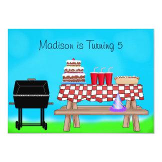 Fête d'anniversaire de pique-nique de barbecue carton d'invitation  12,7 cm x 17,78 cm