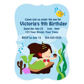 Fête d'anniversaire de piscine de sirène de filles faire-part