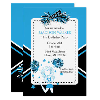 Fête d'anniversaire de pom-pom girl dans les bleus carton d'invitation  12,7 cm x 17,78 cm