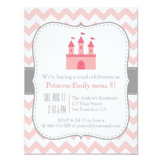Fête d'anniversaire de princesse Castle, Chevron Carton D'invitation 10,79 Cm X 13,97 Cm