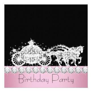 Fête d'anniversaire de princesse de rose de chario cartons d'invitation