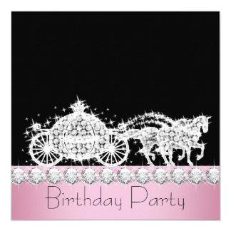 Fête d'anniversaire de princesse de rose de cartons d'invitation