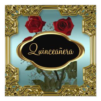 Fête d'anniversaire de Quinceanera Teal 5 Carton D'invitation 13,33 Cm