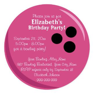 Fête d'anniversaire de rose de boule de bowling carton d'invitation  13,33 cm