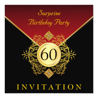 Fête d'anniversaire de rouge royal noir d'or carton d'invitation  13,33 cm