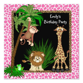 Fête d'anniversaire de safari de filles cartons d'invitation