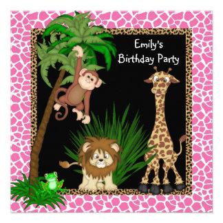 Fête d'anniversaire de safari de jungle de filles cartons d'invitation