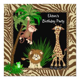 Fête d'anniversaire de safari de jungle de garçons carton d'invitation  13,33 cm