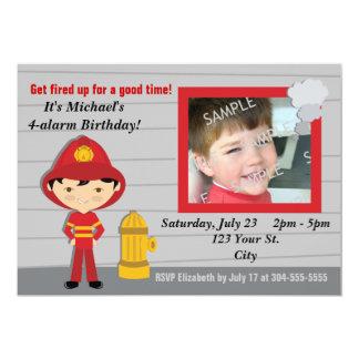 Fête d'anniversaire de sapeur-pompier carton d'invitation  12,7 cm x 17,78 cm
