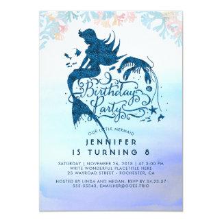 Fête d'anniversaire de sirène sous la mer de carton d'invitation  12,7 cm x 17,78 cm