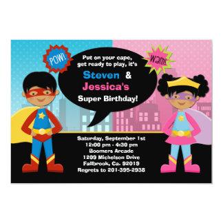 Fête d'anniversaire de super héros carton d'invitation  12,7 cm x 17,78 cm