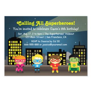 Fête d'anniversaire de super héros d'horizon pour carton d'invitation  11,43 cm x 15,87 cm