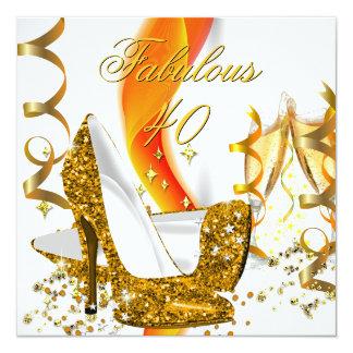 Fête d'anniversaire de talon haut de l'or des 40 carton d'invitation  13,33 cm