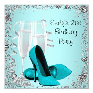 Fête d'anniversaire de Teal de talons hauts de Invitations