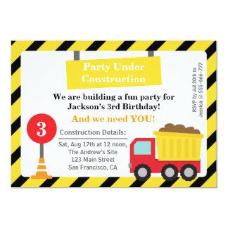 Fête d'anniversaire de thème de construction de carton d'invitation  12,7 cm x 17,78 cm