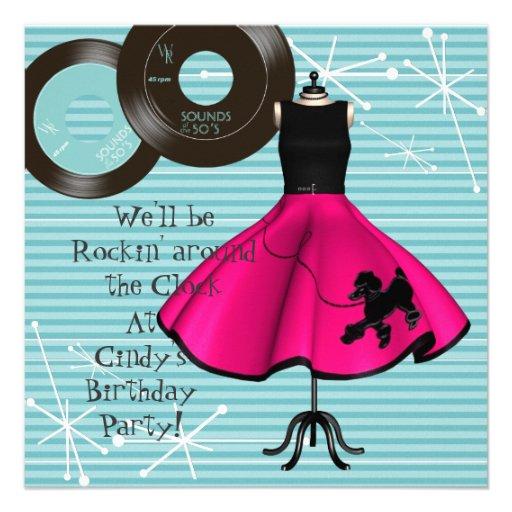 fête d'anniversaire de thème des années 1950 cartons d'invitation personnalisés