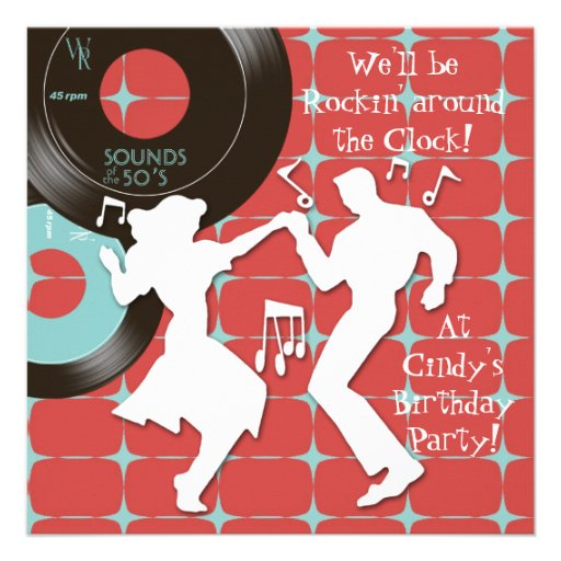 fête d'anniversaire de thème des années 1950 carton d'invitation