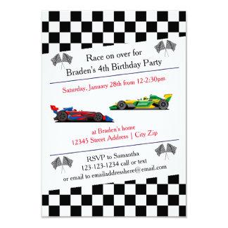 Fête d'anniversaire de voiture de course - carton d'invitation 8,89 cm x 12,70 cm