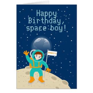 Fête d'anniversaire d'enfant d'astronaute carte de vœux