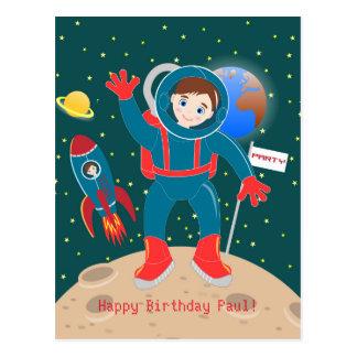 Fête d'anniversaire d'enfant d'astronaute carte postale